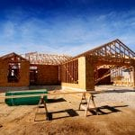 A brand new single-story home in the process of being built with all of the modern features necessary.