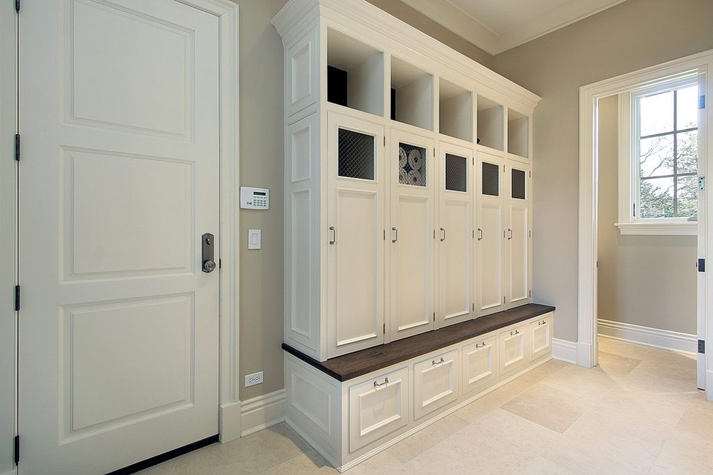 Mudroom in new construction home with lockers