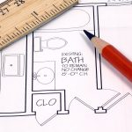 photo of home construction or home remodeling plans, ruler and pencil - beautiful file
