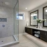 Bathroom with glass shower and heated flooring