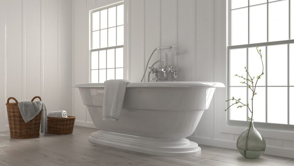 Boat-shaped bathtub in bathroom
