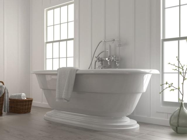 Boat-shaped bathtub in bathroom