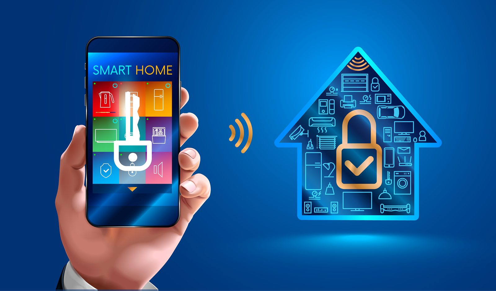 man using smart phone controls smart home devices through a wireless connection. Secure smart home. control of smart home systems is available only from authorized users mobile phone. VECTOR