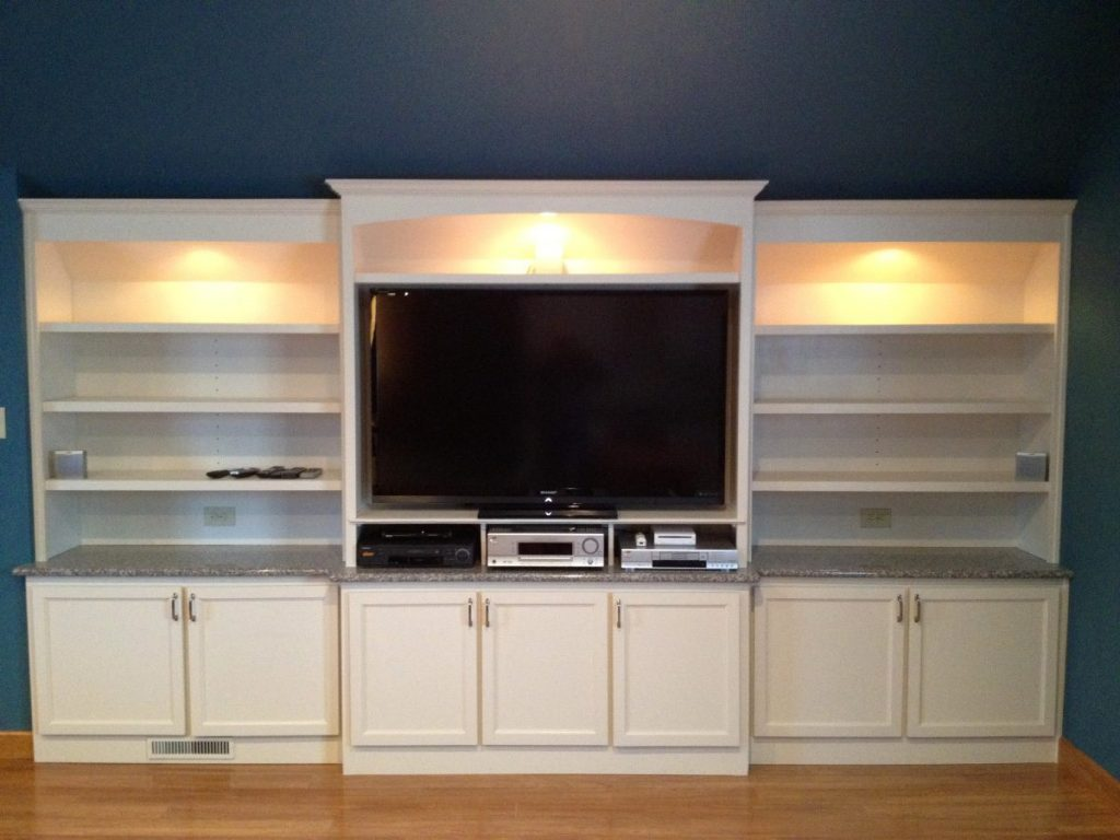 A cabinet entertainment center made by Eagle Construction & Remodeling