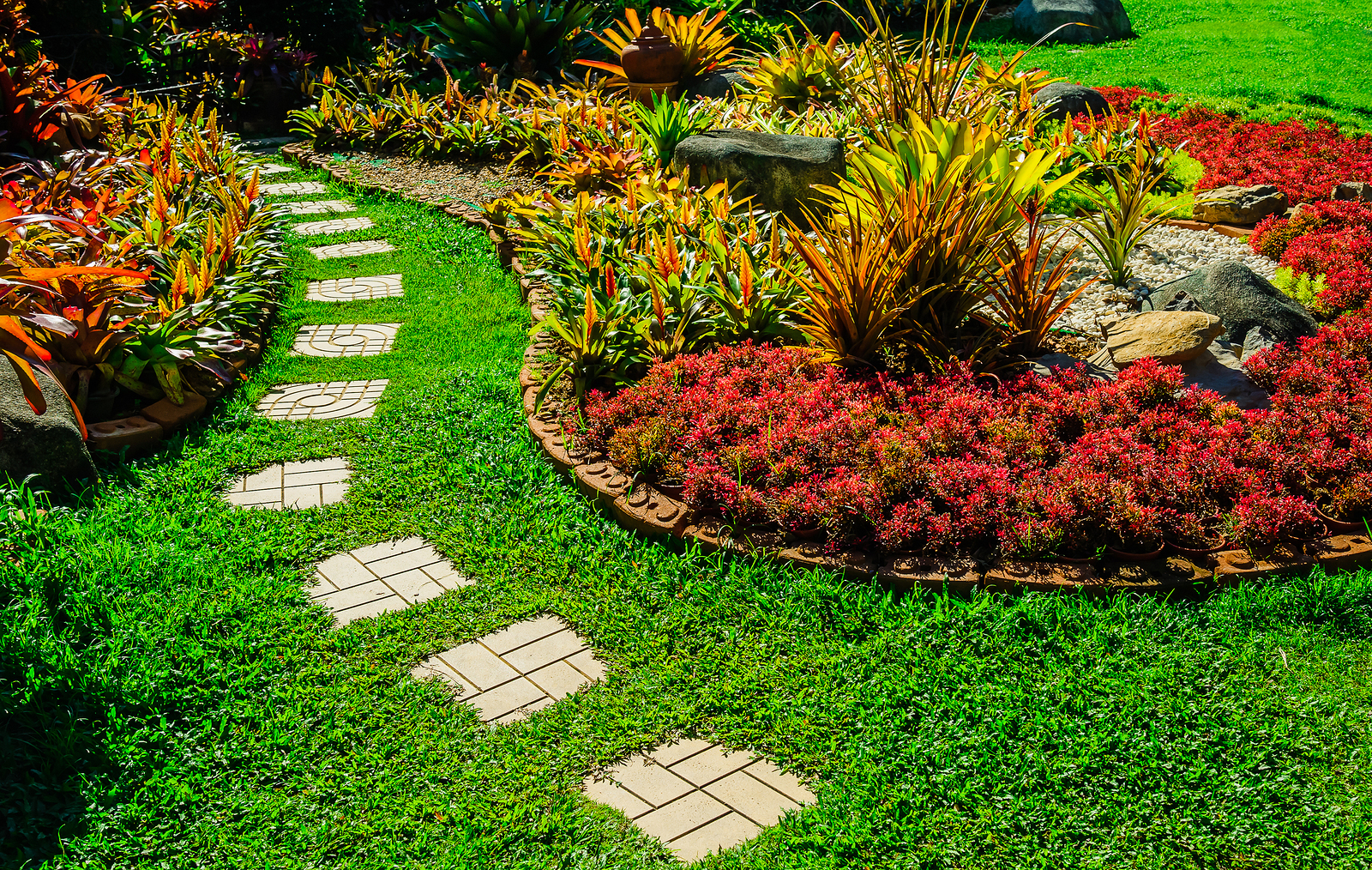 Pathway in garden, green lawns with bricks pathways, garden landscape design, Design background
