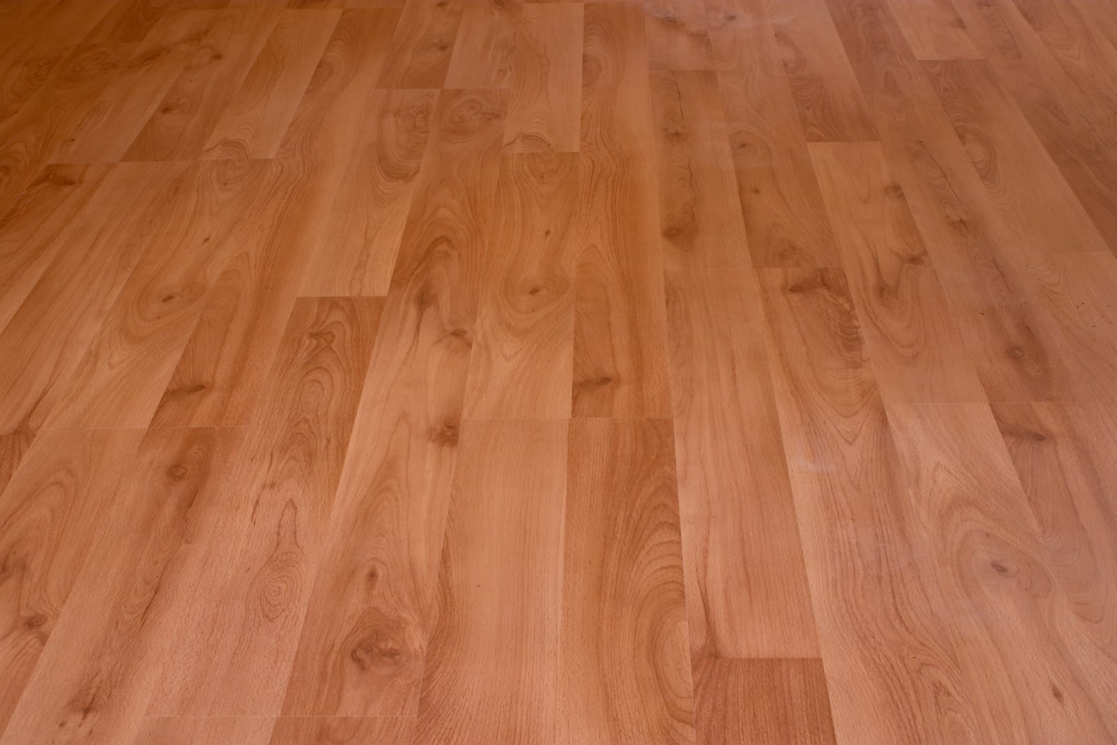 a brand new laminate floor with a birch grain