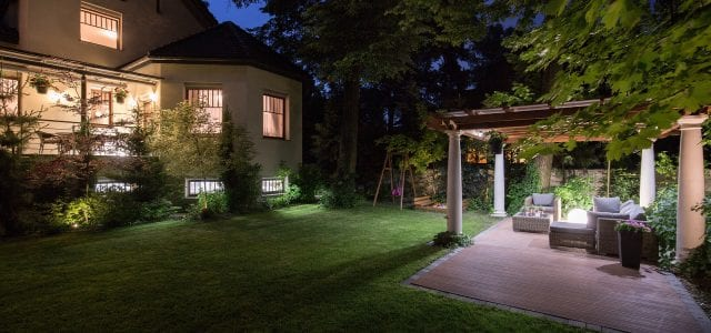 Luxury residence with beauty patio - view at night