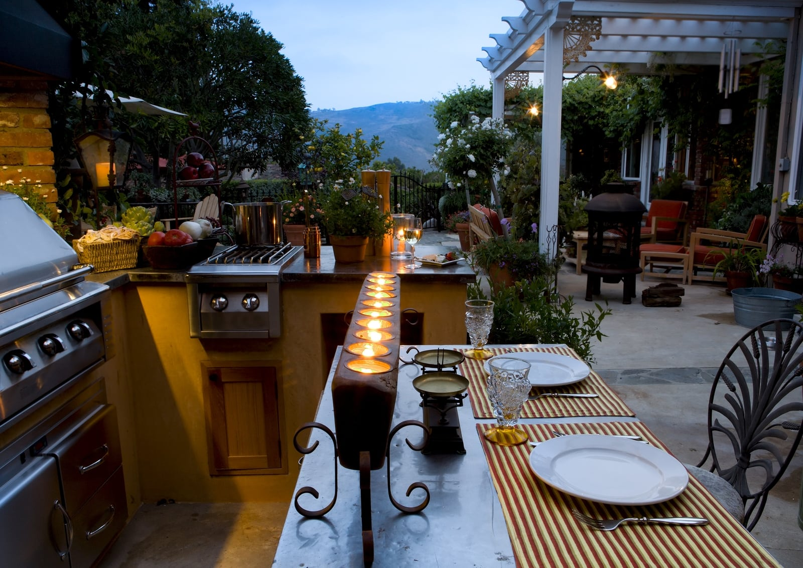 Outdoor lifestyles living and entertaining outdoors on a beautiful night