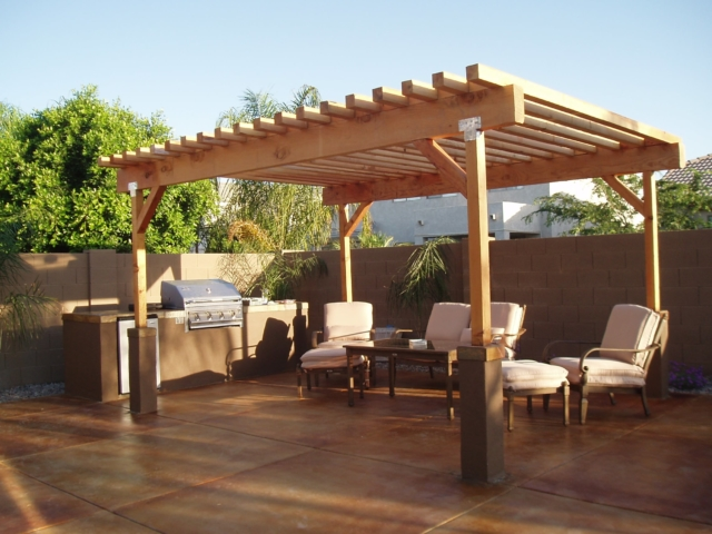 beautiful outdoor room with ramada and kitchen in sunny arizona.