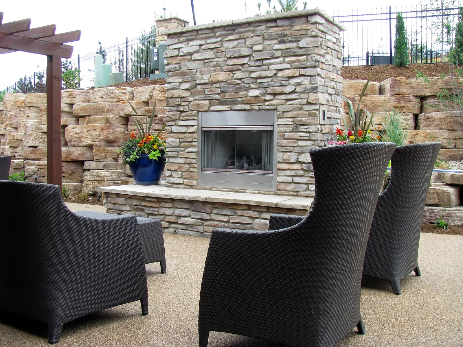 outdoor fireplace made of stone