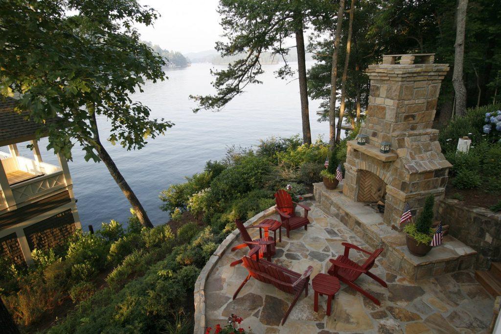 outdoor fireplace near water