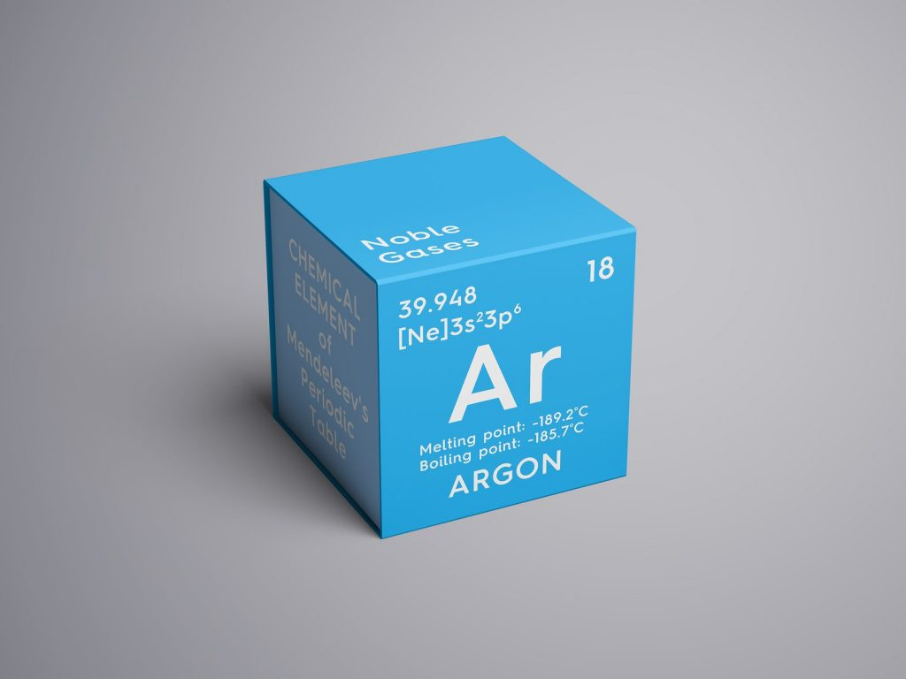 Argon. Noble gases. Chemical Element of Mendeleev's Periodic Table. Argon in square cube creative concept. 3D illustration.