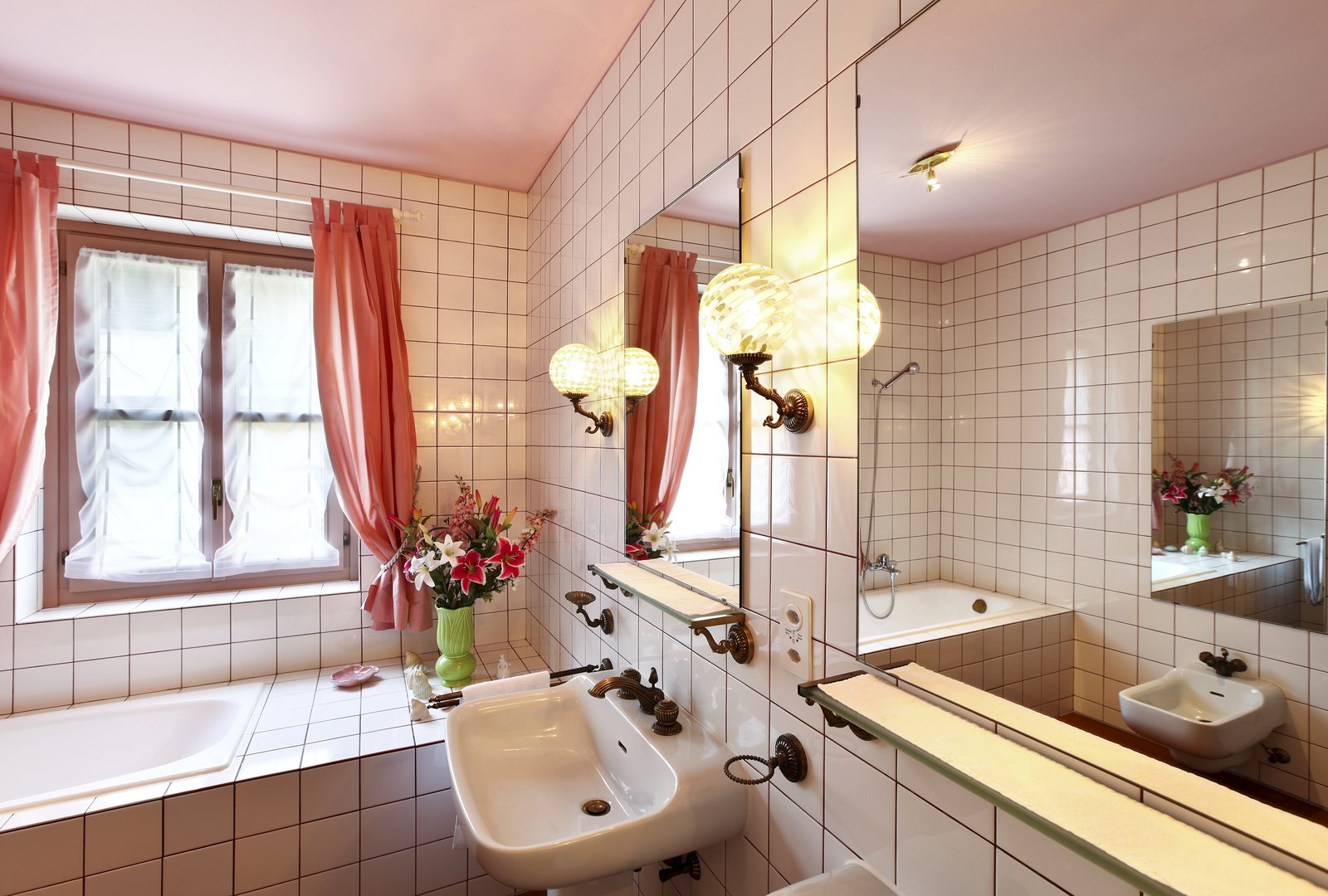 lovely bathroom in style classical, lights