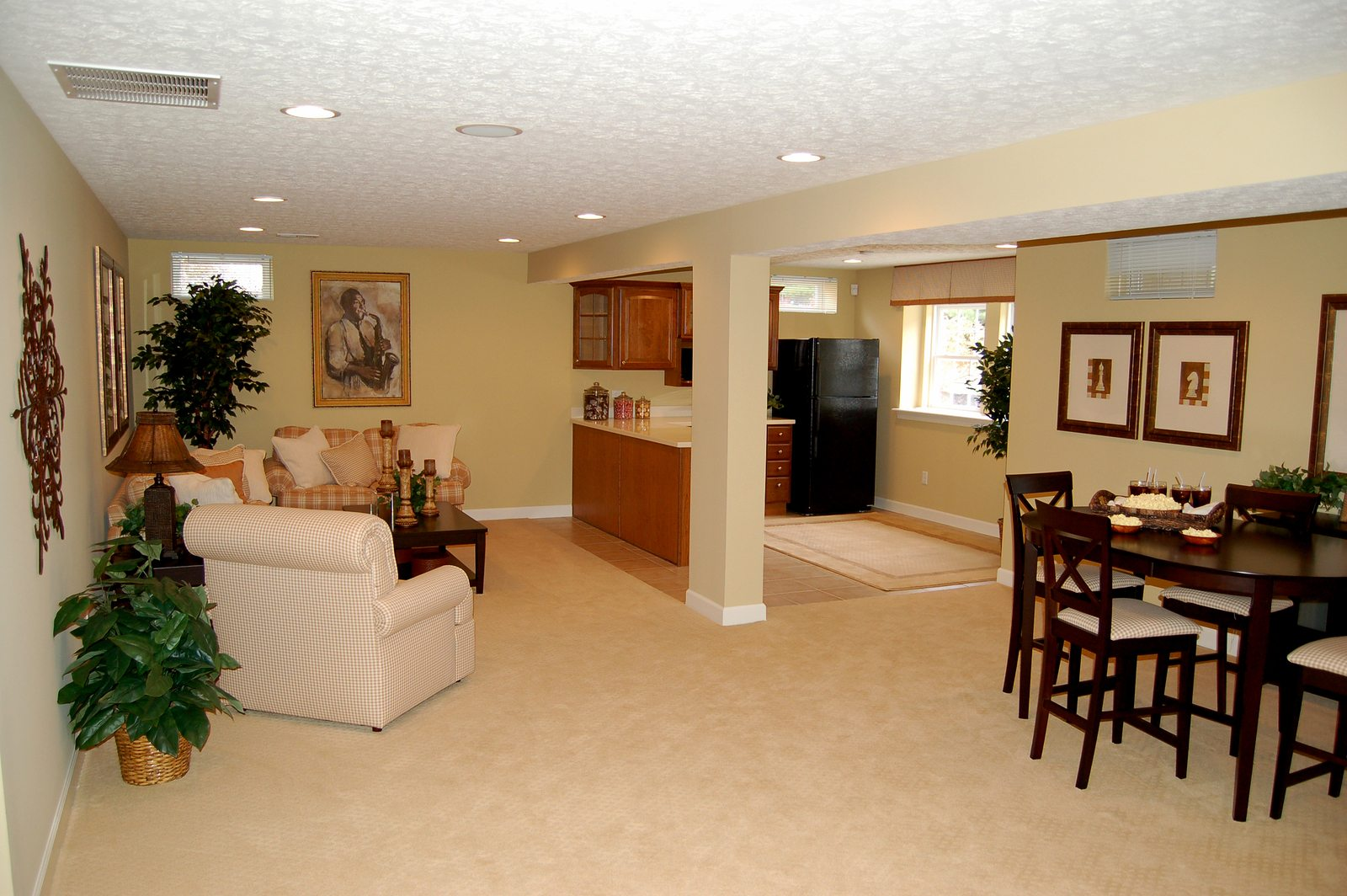 nicely decorated full finished basement in a luxury home